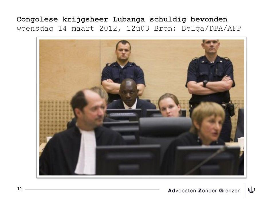 Congolese krijgsheer Lubanga schuldig bevonden woensdag 14 maart 2012, 12u03 Bron: Belga/DPA/AFP 15