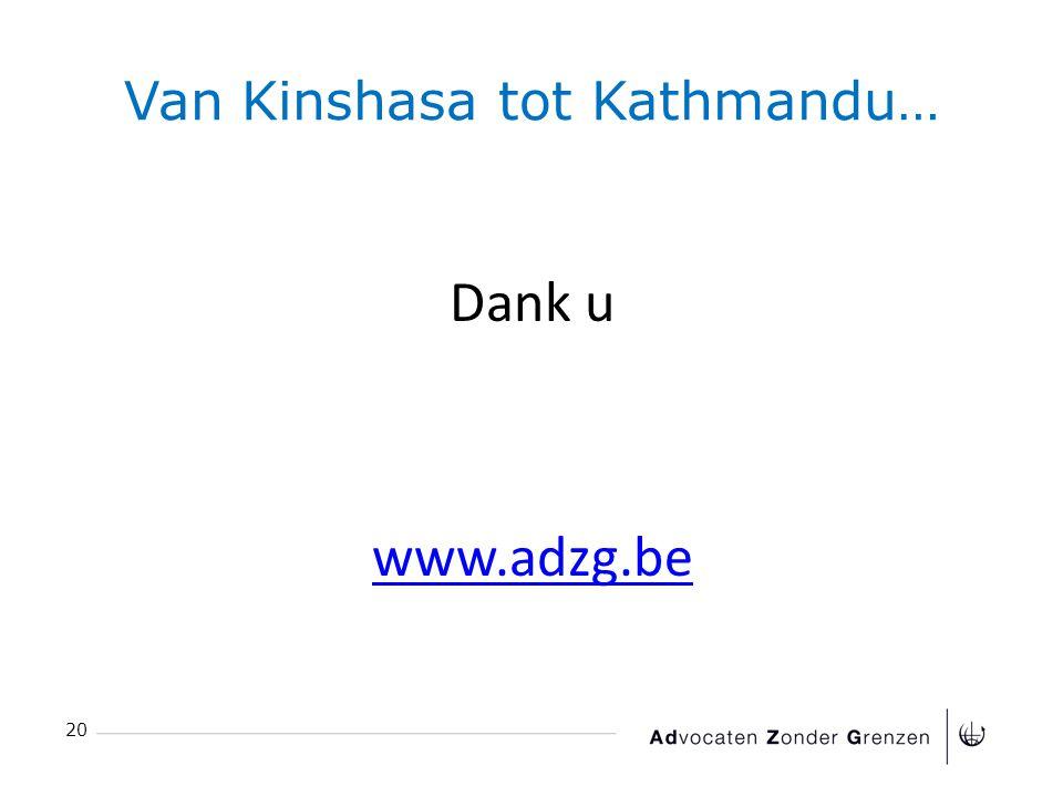Van Kinshasa tot Kathmandu… 20 Dank u www.adzg.be