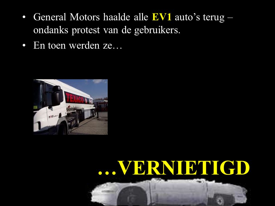…VERNIETIGD General Motors haalde alle EV1 auto's terug – ondanks protest van de gebruikers.
