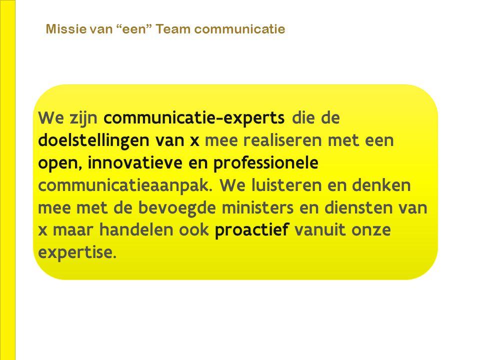 """Missie van """"een"""" Team communicatie We zijn communicatie-experts die de doelstellingen van x mee realiseren met een open, innovatieve en professionele"""