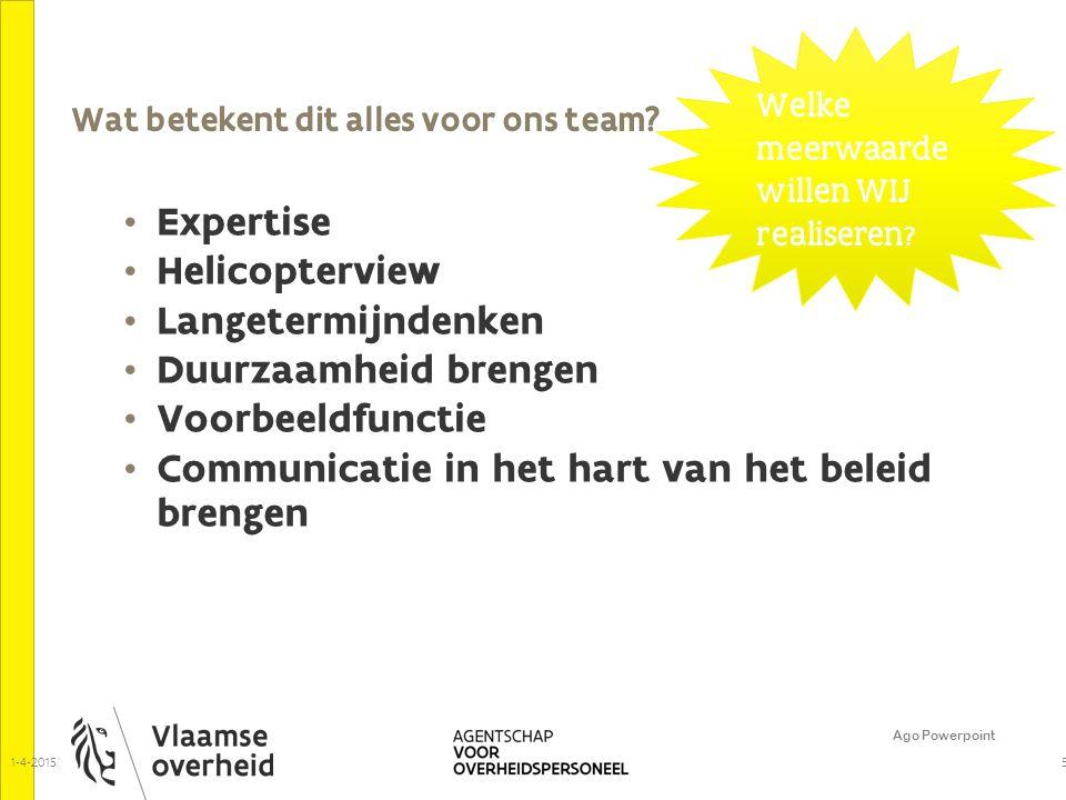 Wat betekent dit alles voor ons team? Ago Powerpoint 5 Expertise Helicopterview Langetermijndenken Duurzaamheid brengen Voorbeeldfunctie Communicatie