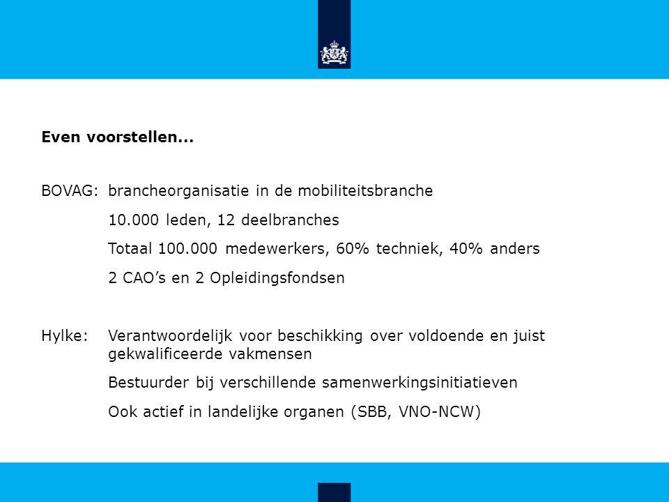 Even voorstellen... BOVAG: brancheorganisatie in de mobiliteitsbranche 10.000 leden, 12 deelbranches Totaal 100.000 medewerkers, 60% techniek, 40% and