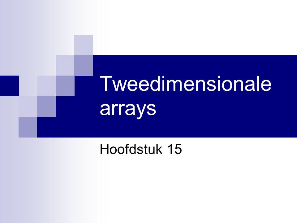 Visual Basic.NET voor studenten2 In dit hoofdstuk … Tweedimensionale arrays:  Declareren  Initialiseren  Indices gebruiken  Grootte bepalen  ReDim  Als parameter doorgeven
