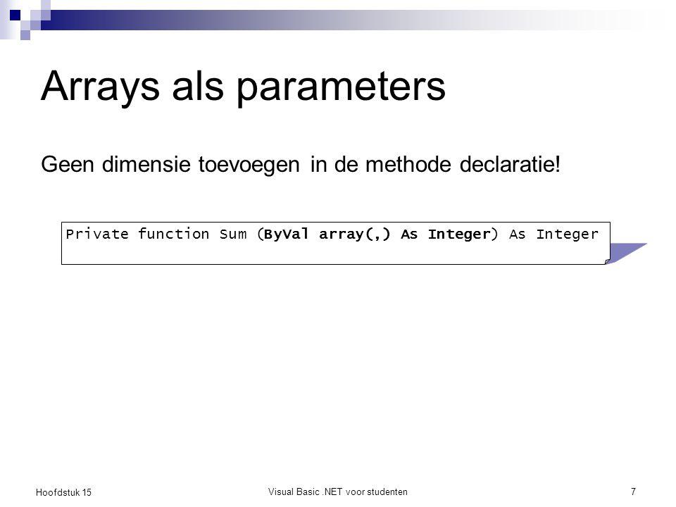 Hoofdstuk 15 Visual Basic.NET voor studenten7 Arrays als parameters Geen dimensie toevoegen in de methode declaratie! Private function Sum (ByVal arra