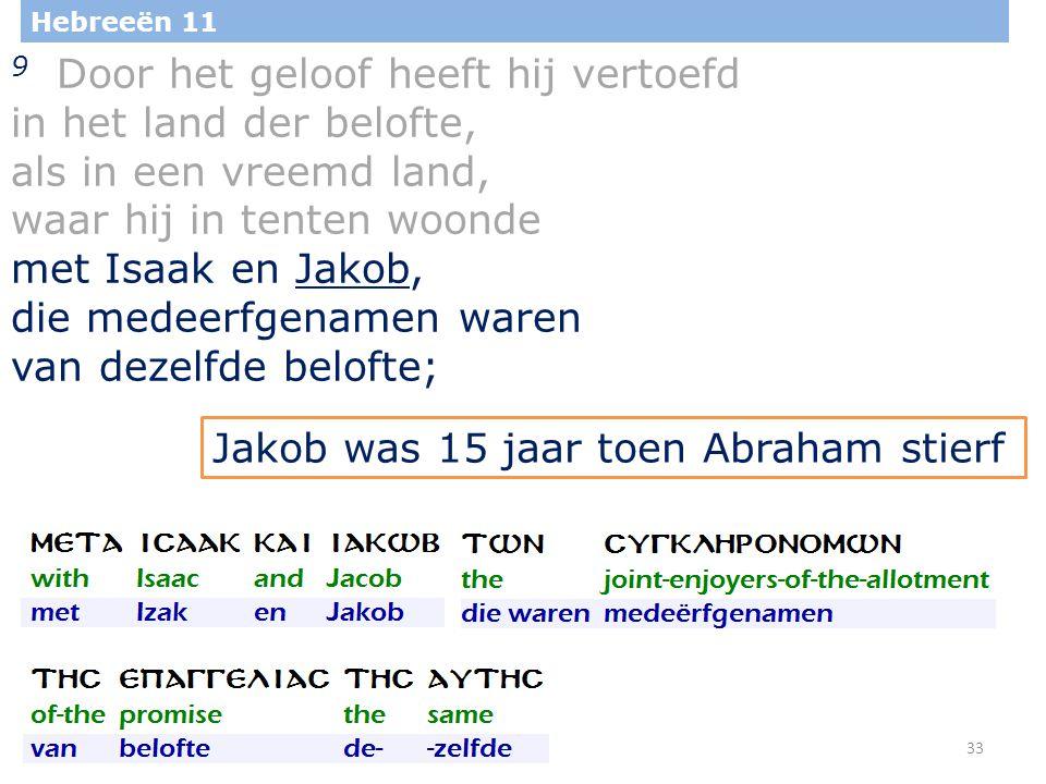 33 Hebreeën 11 9 Door het geloof heeft hij vertoefd in het land der belofte, als in een vreemd land, waar hij in tenten woonde met Isaak en Jakob, die medeerfgenamen waren van dezelfde belofte; Jakob was 15 jaar toen Abraham stierf