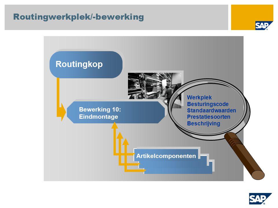 Routingwerkplek/-bewerking Routingkop Bewerking 10: Eindmontage Artikelcomponenten Werkplek Besturingscode Standaardwaarden Prestatiesoorten Beschrijving....