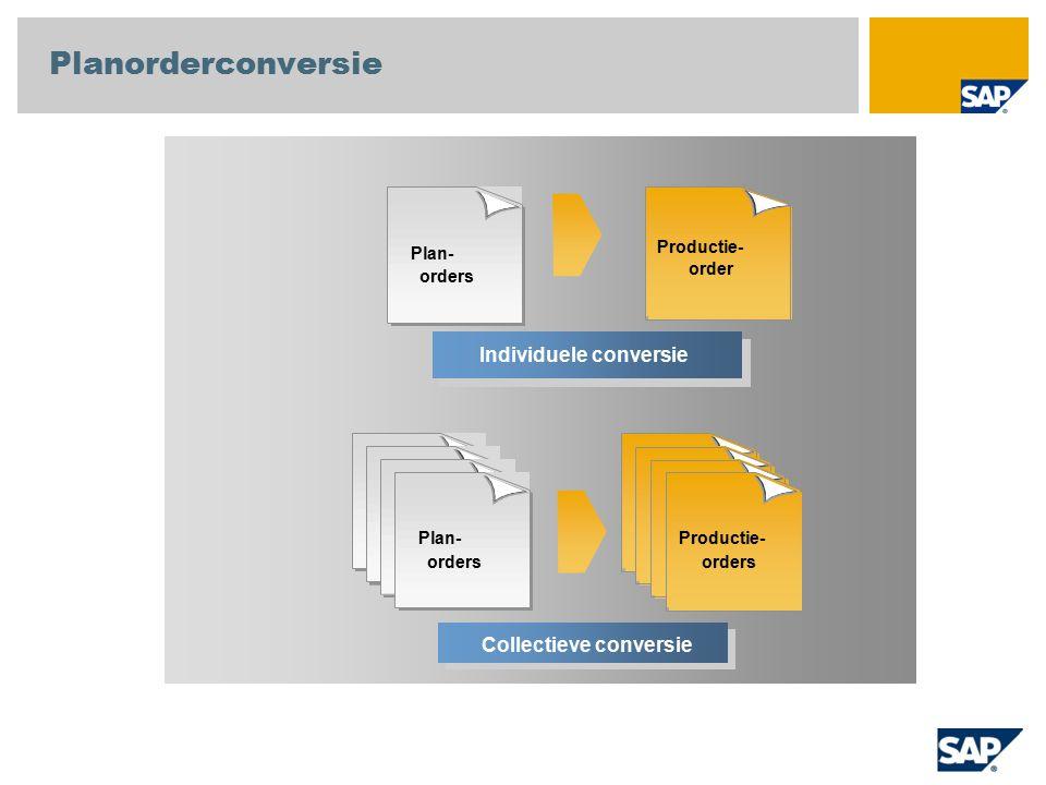 Individuele conversie Plan- orders Productie- orders Collectieve conversie Planorderconversie Productie- order Plan- orders