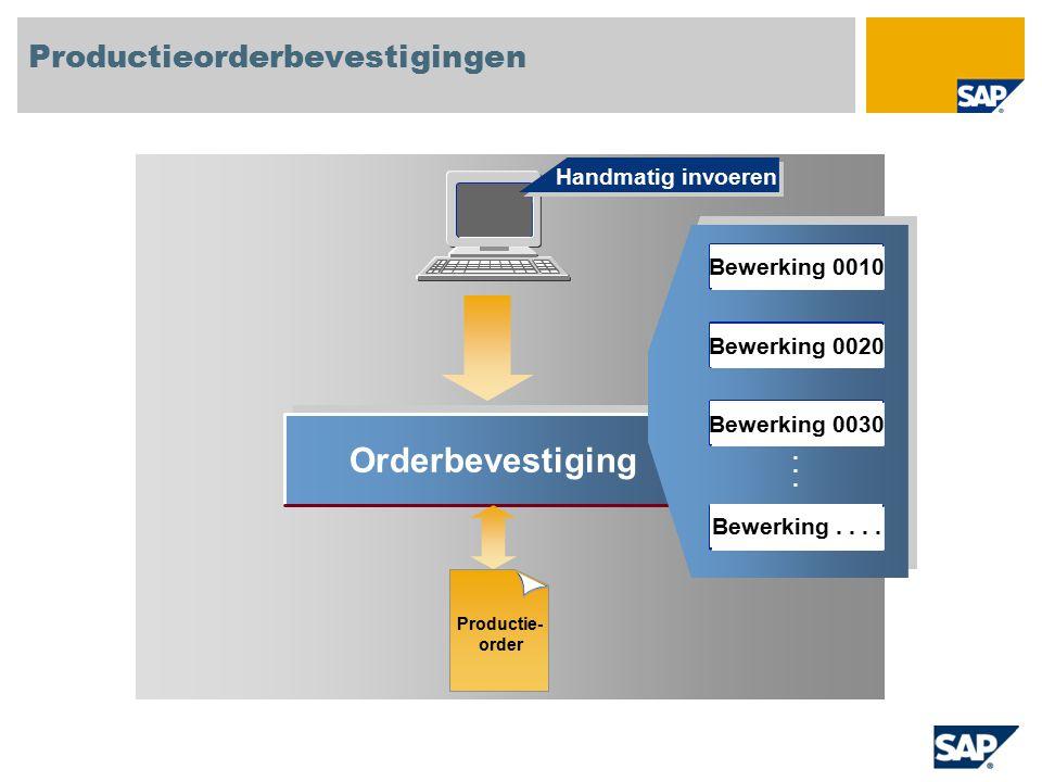 Orderbevestiging...... Handmatig invoeren Productieorderbevestigingen Productie- order Bewerking 0010 Bewerking 0020 Bewerking 0030 Bewerking....