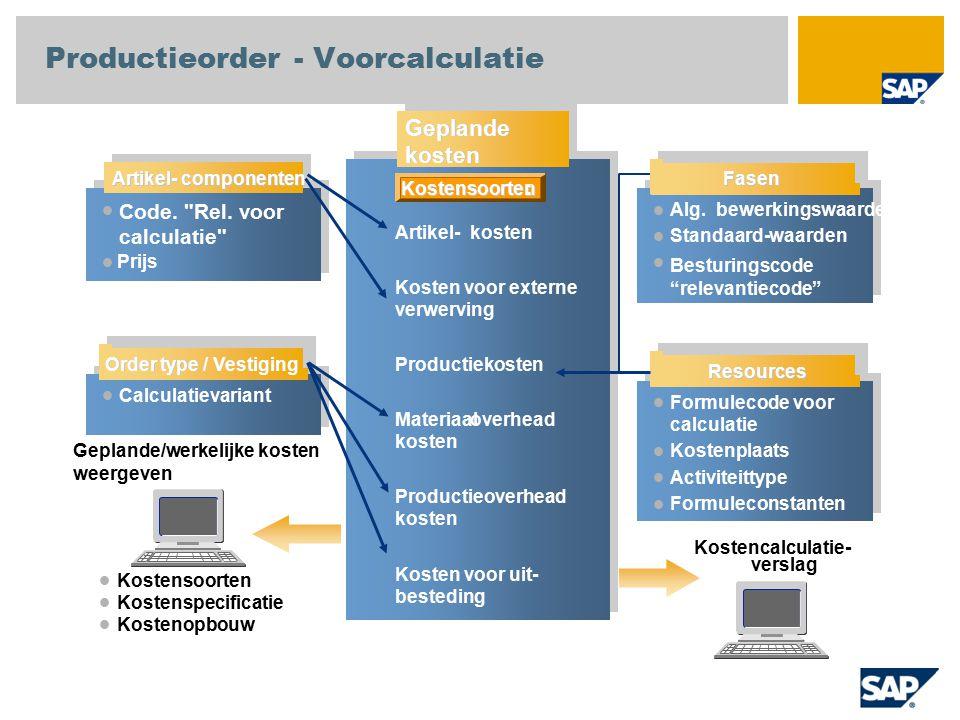 Calculatievariant Geplande/werkelijke kosten weergeven Kostensoorten Kostenspecificatie Kostenopbouw Geplande kosten Artikel- kosten Kosten voor exter