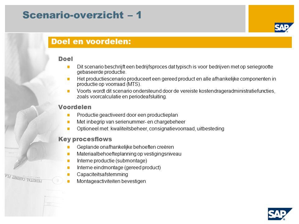 Scenario-overzicht – 1 Doel Dit scenario beschrijft een bedrijfsproces dat typisch is voor bedrijven met op seriegrootte gebaseerde productie. Het pro