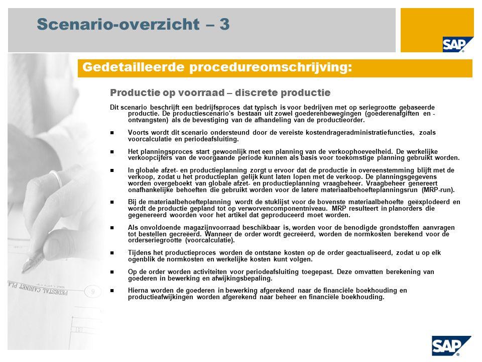 Scenario-overzicht – 3 Productie op voorraad – discrete productie Dit scenario beschrijft een bedrijfsproces dat typisch is voor bedrijven met op seriegrootte gebaseerde productie.