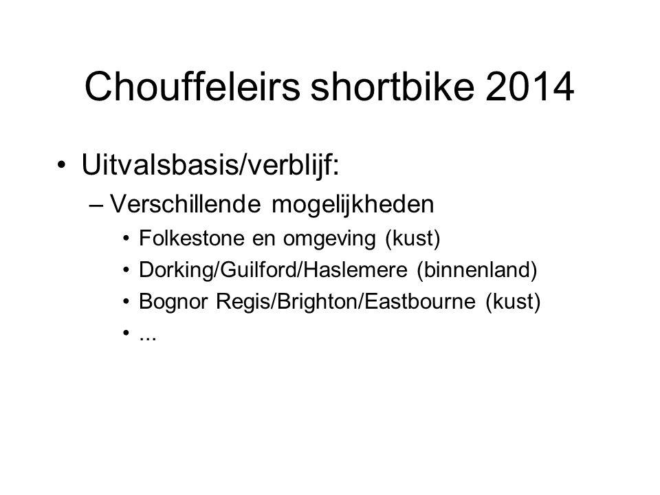 Chouffeleirs shortbike 2014 Uitvalsbasis/verblijf: –Verschillende mogelijkheden Folkestone en omgeving (kust) Dorking/Guilford/Haslemere (binnenland) Bognor Regis/Brighton/Eastbourne (kust)...