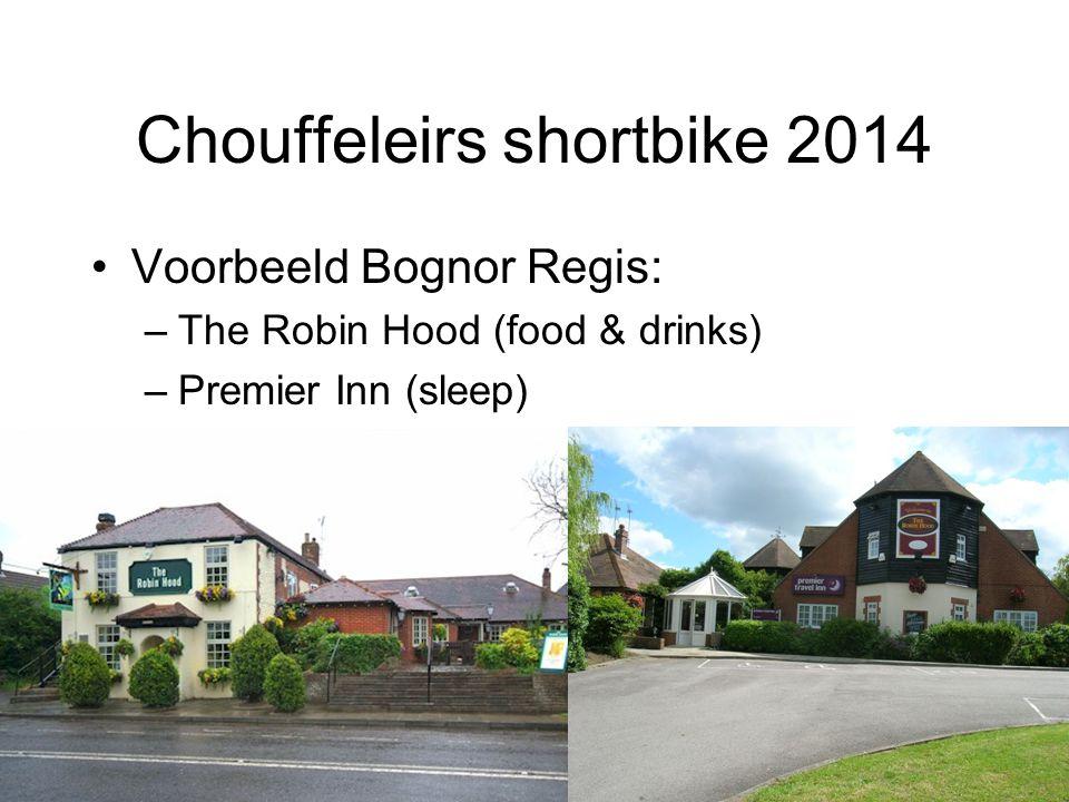 Chouffeleirs shortbike 2014 Voorbeeld Bognor Regis: –The Robin Hood (food & drinks) –Premier Inn (sleep)