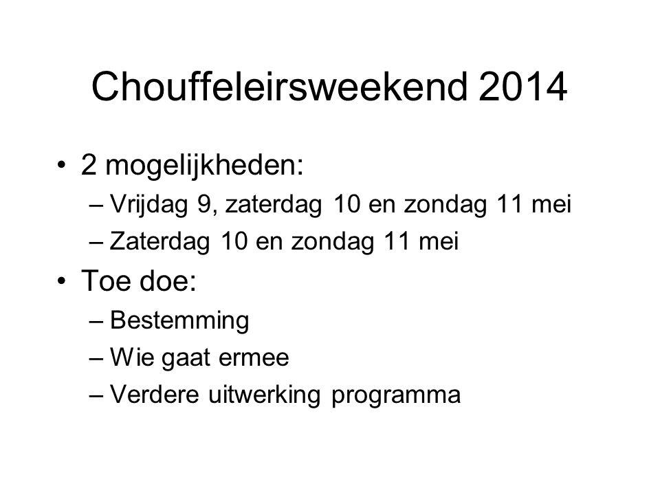 Chouffeleirsweekend 2014 2 mogelijkheden: –Vrijdag 9, zaterdag 10 en zondag 11 mei –Zaterdag 10 en zondag 11 mei Toe doe: –Bestemming –Wie gaat ermee –Verdere uitwerking programma