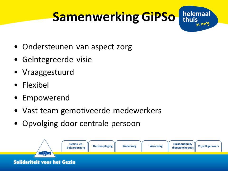 Samenwerking GiPSo Ondersteunen van aspect zorg Geïntegreerde visie Vraaggestuurd Flexibel Empowerend Vast team gemotiveerde medewerkers Opvolging door centrale persoon
