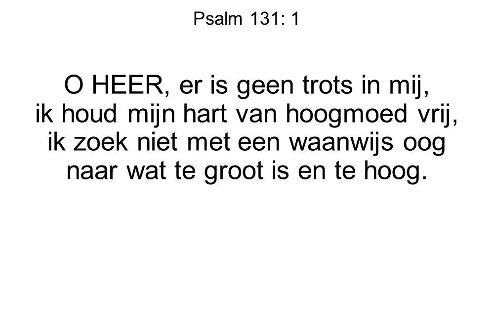 Psalm 131: 1 O HEER, er is geen trots in mij, ik houd mijn hart van hoogmoed vrij, ik zoek niet met een waanwijs oog naar wat te groot is en te hoog.