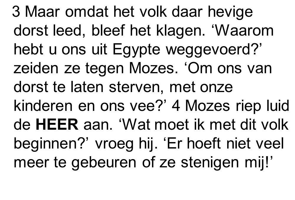 3 Maar omdat het volk daar hevige dorst leed, bleef het klagen. 'Waarom hebt u ons uit Egypte weggevoerd?' zeiden ze tegen Mozes. 'Om ons van dorst te