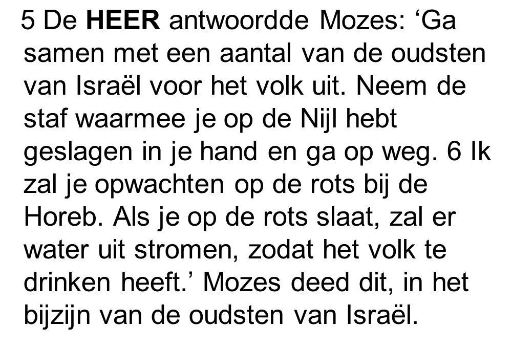 5 De HEER antwoordde Mozes: 'Ga samen met een aantal van de oudsten van Israël voor het volk uit. Neem de staf waarmee je op de Nijl hebt geslagen in