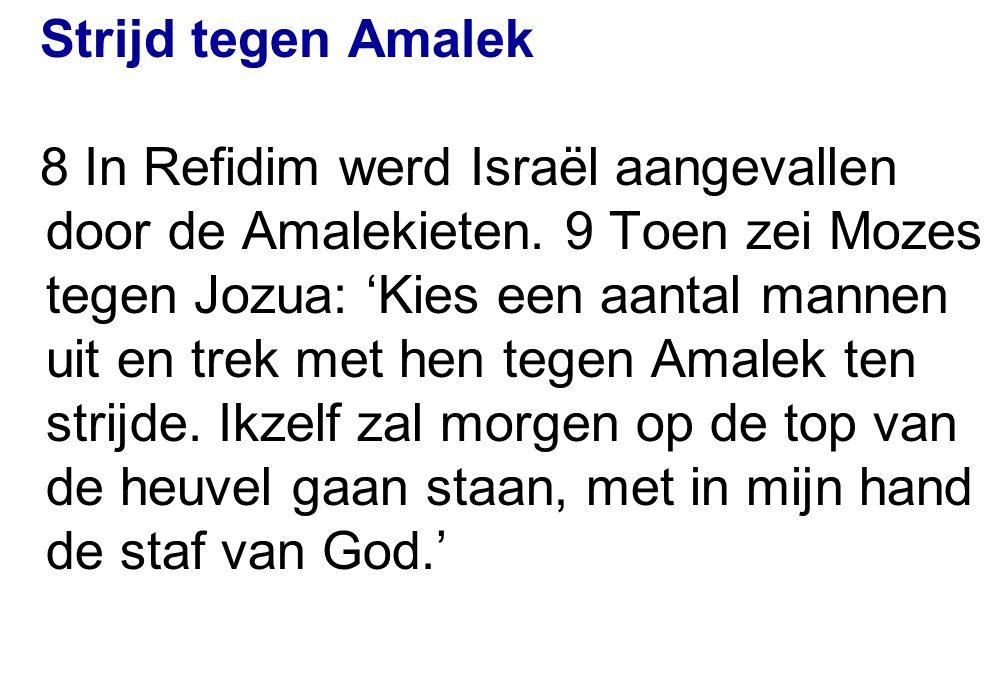 Strijd tegen Amalek 8 In Refidim werd Israël aangevallen door de Amalekieten. 9 Toen zei Mozes tegen Jozua: 'Kies een aantal mannen uit en trek met he