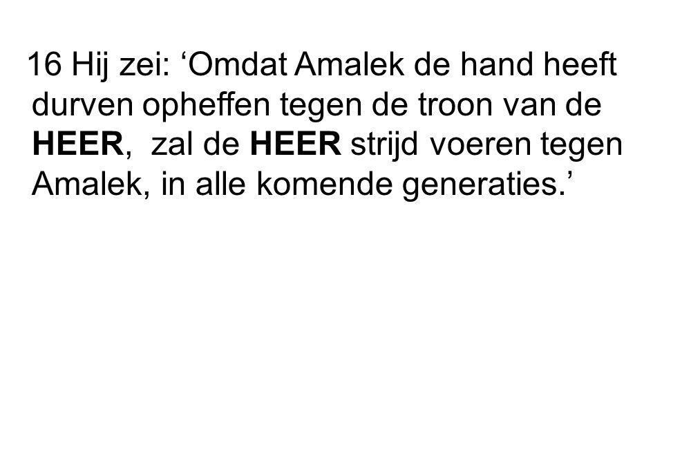 16 Hij zei: 'Omdat Amalek de hand heeft durven opheffen tegen de troon van de HEER, zal de HEER strijd voeren tegen Amalek, in alle komende generaties