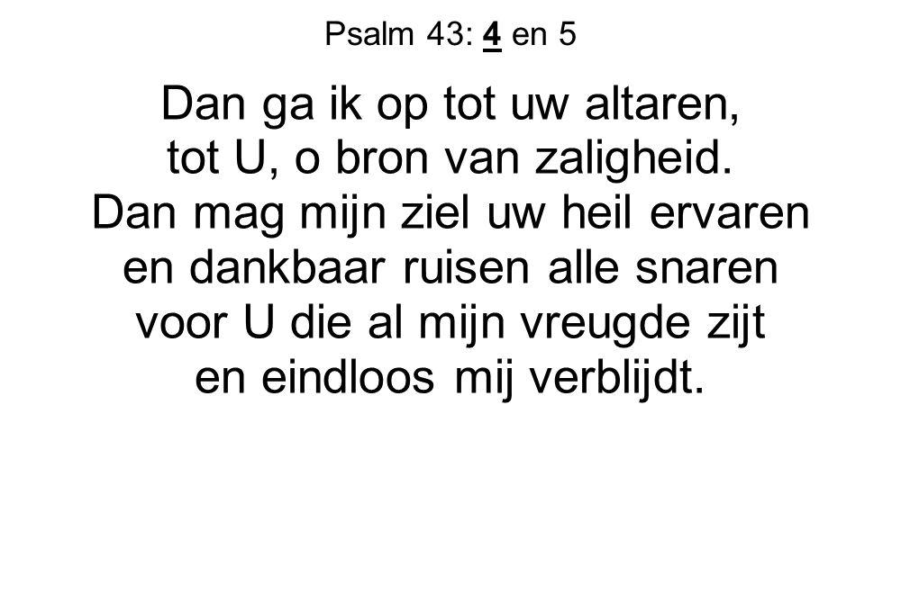 Psalm 43: 4 en 5 Dan ga ik op tot uw altaren, tot U, o bron van zaligheid.