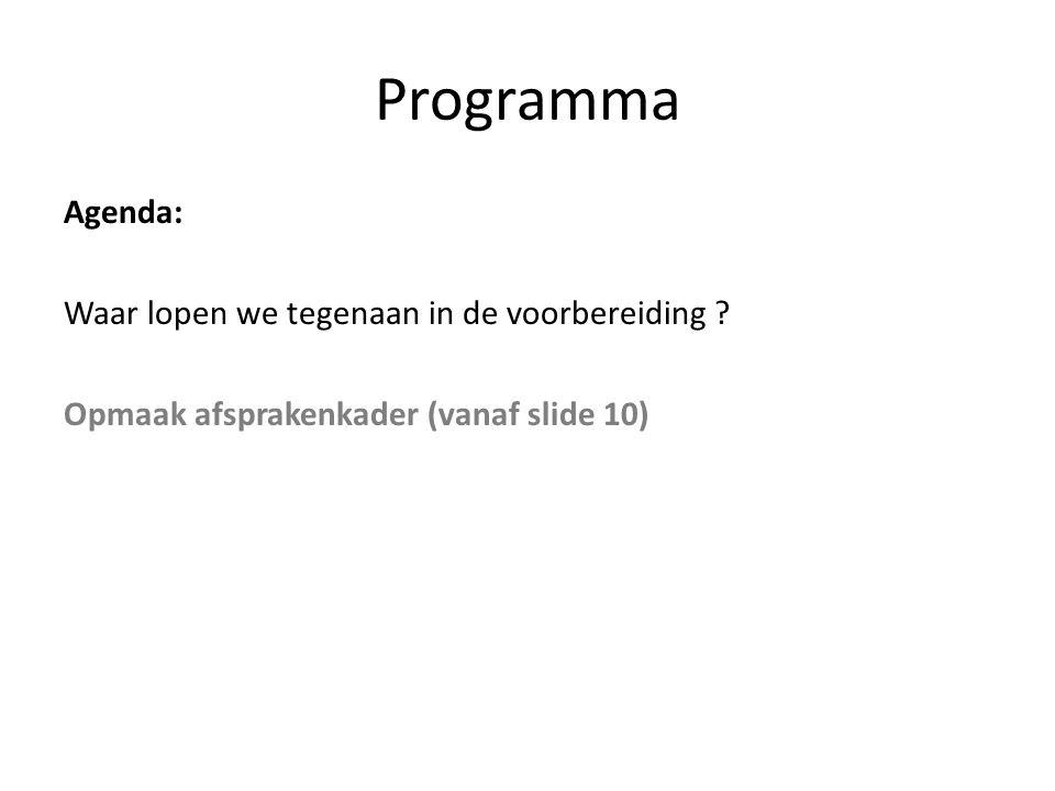 Programma Agenda: Waar lopen we tegenaan in de voorbereiding ? Opmaak afsprakenkader (vanaf slide 10)