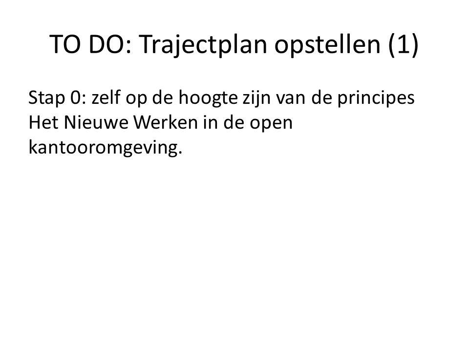 TO DO: Trajectplan opstellen (1) Stap 0: zelf op de hoogte zijn van de principes Het Nieuwe Werken in de open kantooromgeving.