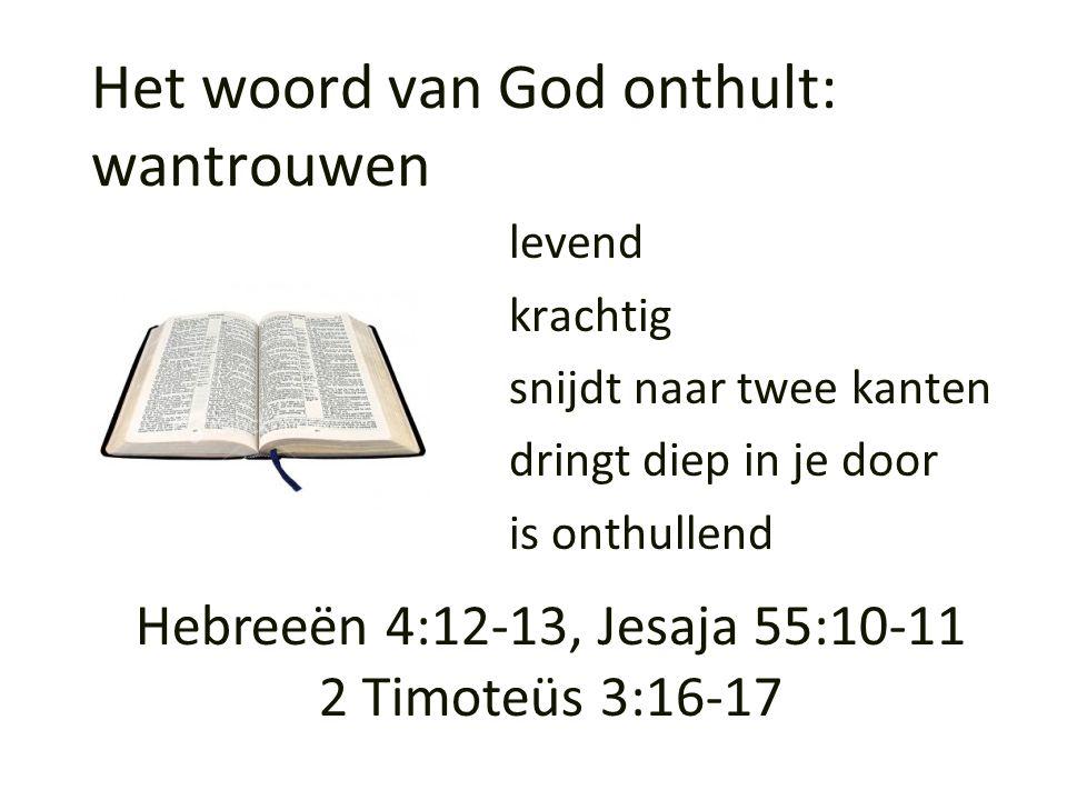 Het woord van God onthult: wantrouwen levend krachtig snijdt naar twee kanten dringt diep in je door is onthullend Hebreeën 4:12-13, Jesaja 55:10-11 2
