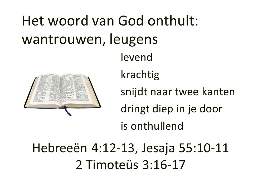 Het woord van God onthult: wantrouwen, leugens levend krachtig snijdt naar twee kanten dringt diep in je door is onthullend Hebreeën 4:12-13, Jesaja 5