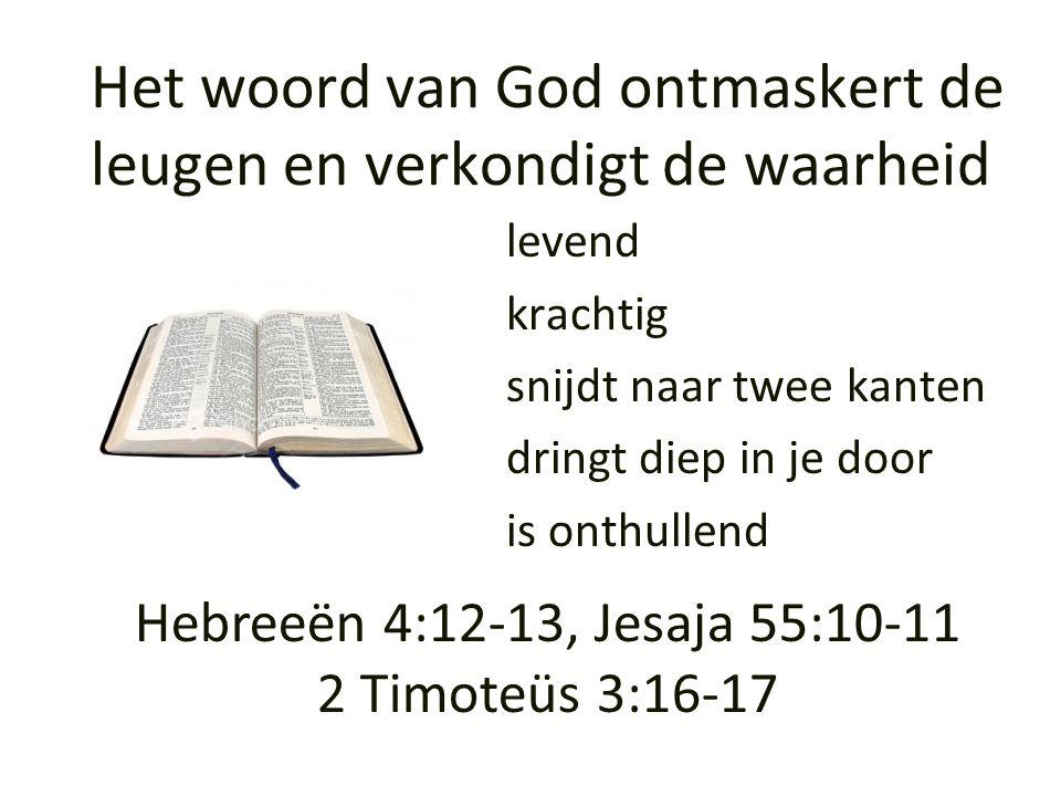 Het woord van God ontmaskert de leugen en verkondigt de waarheid levend krachtig snijdt naar twee kanten dringt diep in je door is onthullend Hebreeën