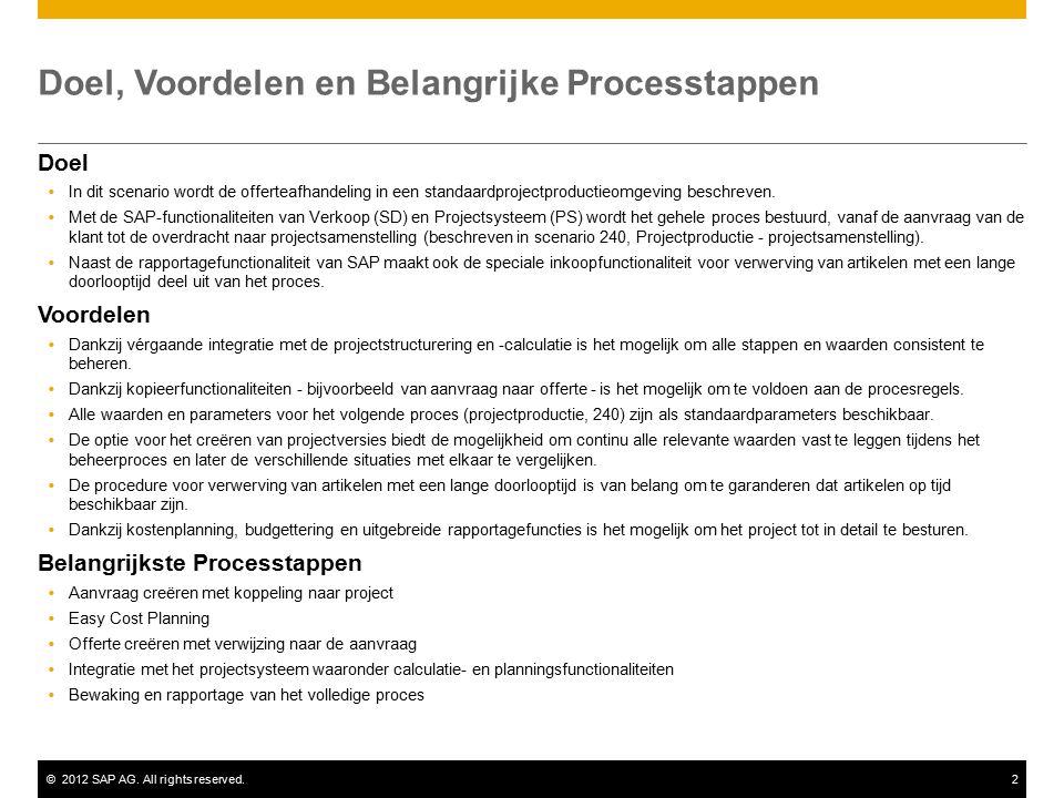 ©2012 SAP AG. All rights reserved.2 Doel, Voordelen en Belangrijke Processtappen Doel  In dit scenario wordt de offerteafhandeling in een standaardpr