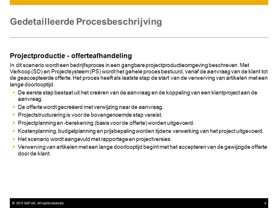 ©2012 SAP AG. All rights reserved.4 Gedetailleerde Procesbeschrijving Projectproductie - offerteafhandeling In dit scenario wordt een bedrijfsproces i