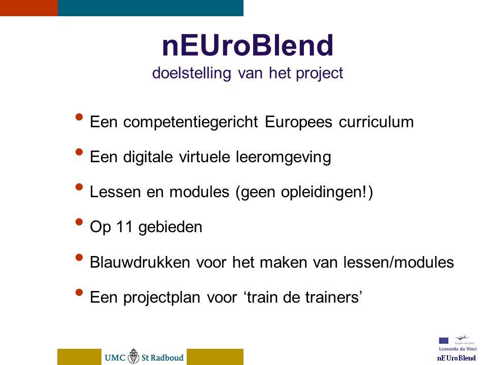 nEUroBlend Presentation, den Bosch, sep 30, 2005 nEUroBlend doelstelling van het project Een competentiegericht Europees curriculum Een digitale virtu