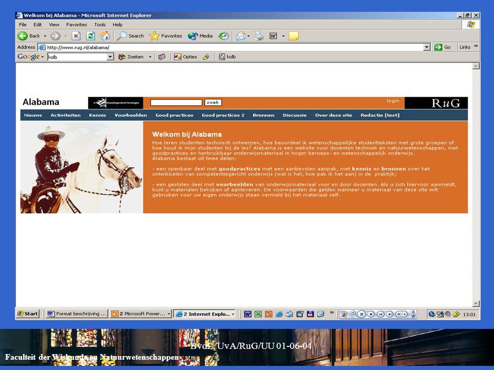 Faculteit der Wiskunde en Natuurwetenschappen BvdL, UvA/RuG/UU 01-06-04