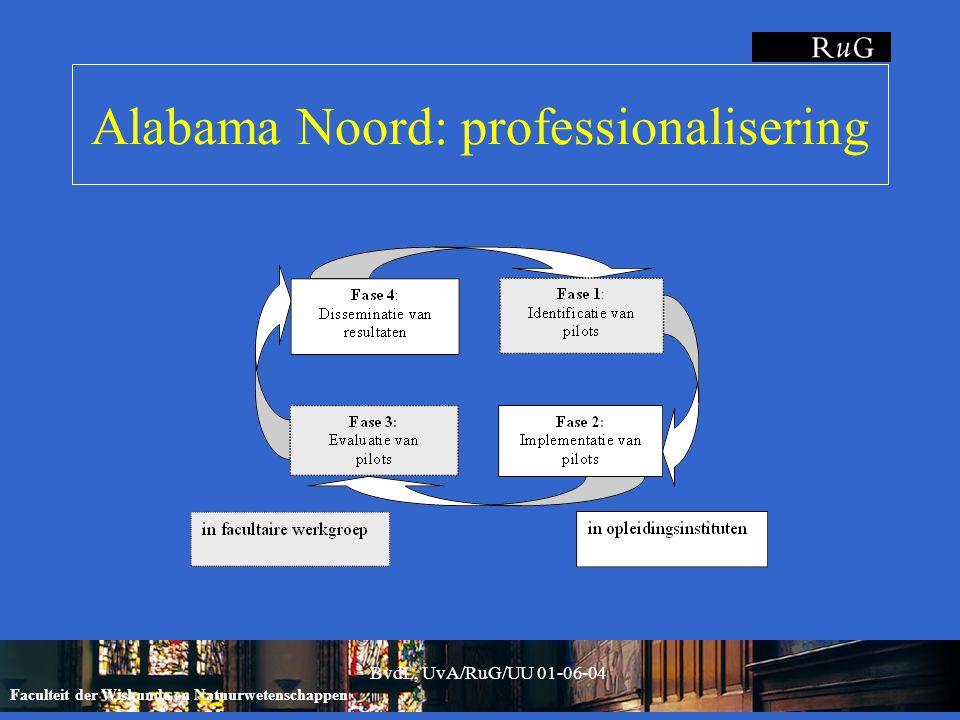 Faculteit der Wiskunde en Natuurwetenschappen BvdL, UvA/RuG/UU 01-06-04 Alabama Noord: professionalisering