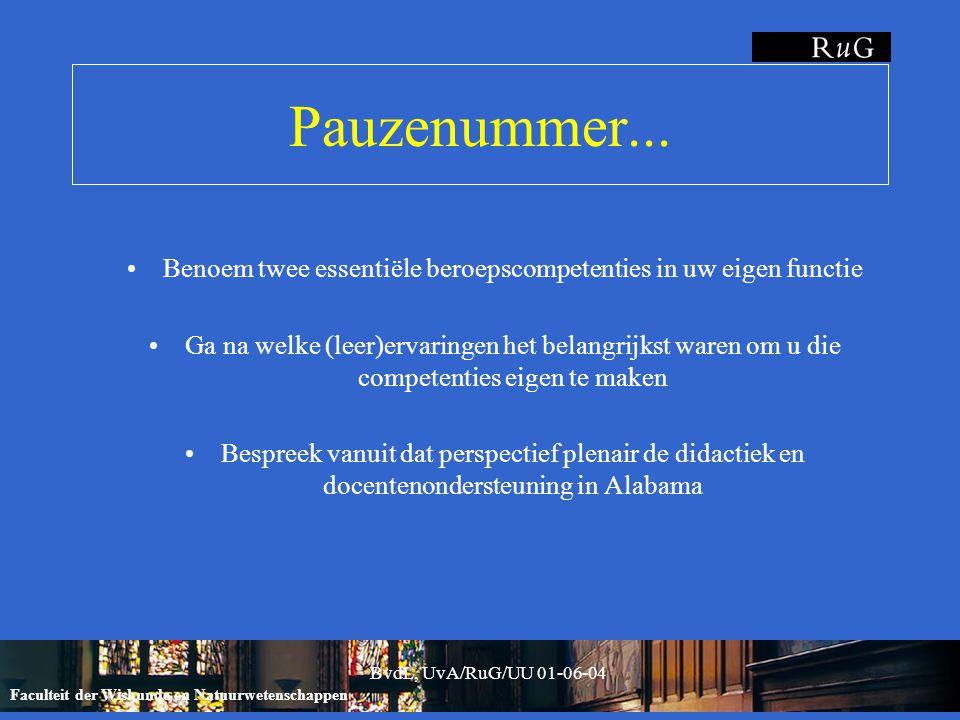 Faculteit der Wiskunde en Natuurwetenschappen BvdL, UvA/RuG/UU 01-06-04 Pauzenummer...