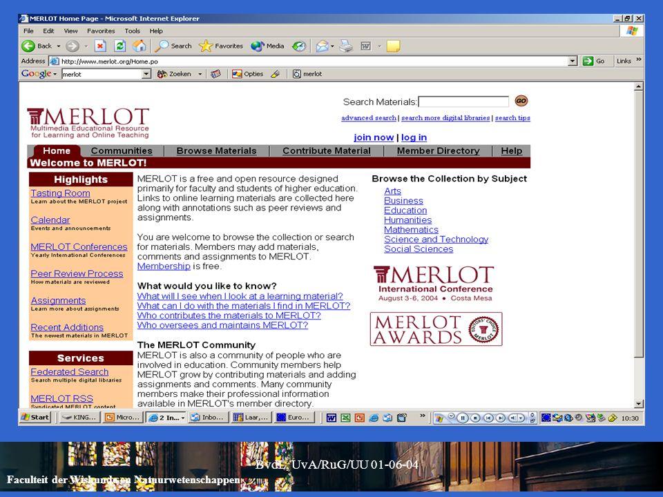 Faculteit der Wiskunde en Natuurwetenschappen BvdL, UvA/RuG/UU 01-06-04 /