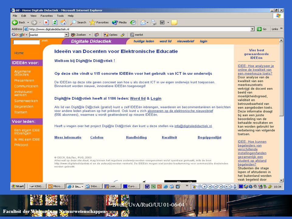 Faculteit der Wiskunde en Natuurwetenschappen BvdL, UvA/RuG/UU 01-06-04 Alabama Noord: doel Herontwerp competentiegerichte leerlijnen (o.a.