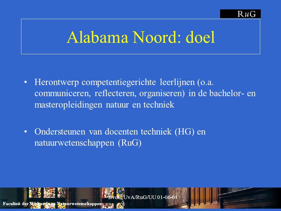 Faculteit der Wiskunde en Natuurwetenschappen BvdL, UvA/RuG/UU 01-06-04 Alabama Noord: uitgangspunten Vakinhoud voorop ('peer teaching') good practices in natuur en techniek (HBO/WO) Herkenbaar en bruikbaar vakgenoten en collega's Competentiegericht (beroepsbekwaamheid) combinatie kennis, vaardigheid, attitude, persoon IT-ondersteund (middel, gèèn doel) omvang staf, overbruggen lokaties