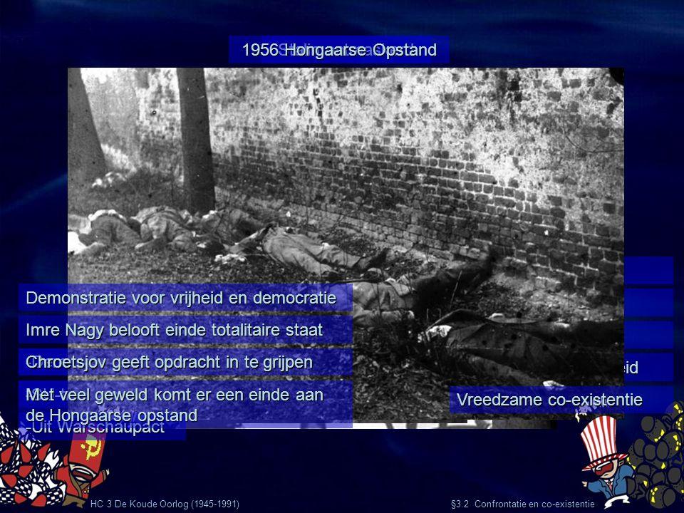 Stalin ontmaskerd HC 3 De Koude Oorlog (1945-1991) §3.2 Confrontatie en co-existentie 1953 Stalin overlijdt Chroetsjov opvolger Terreur voorbij Meer i