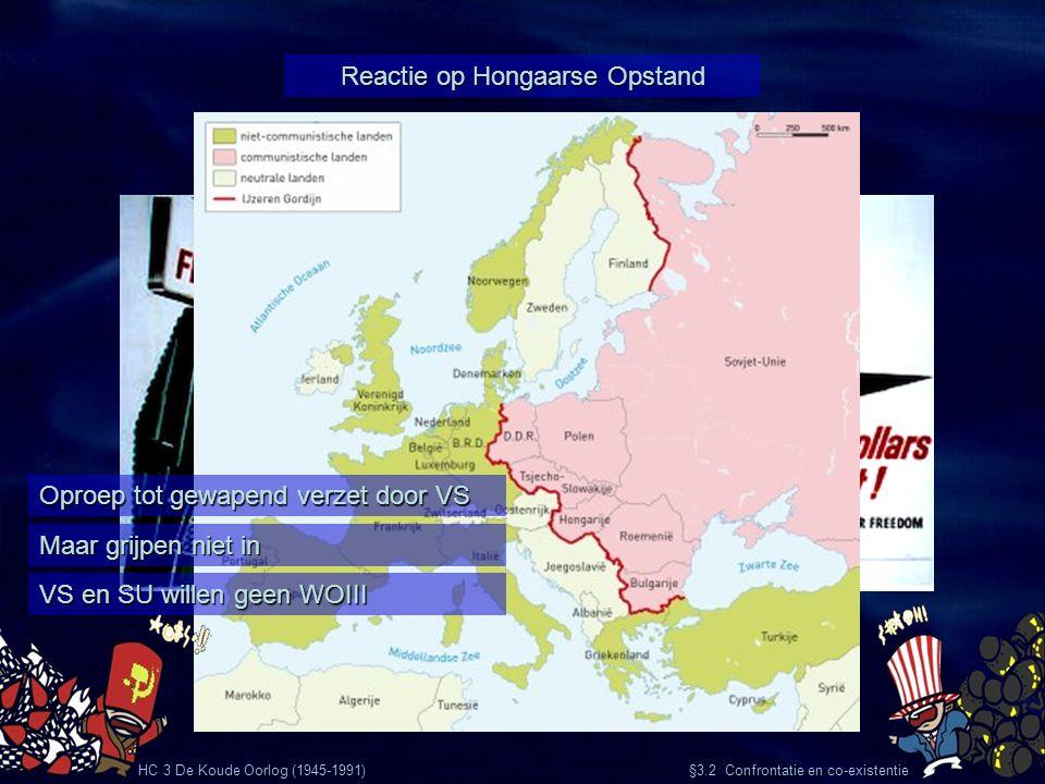 HC 3 De Koude Oorlog (1945-1991) §3.2 Confrontatie en co-existentie Reactie op Hongaarse Opstand Oproep tot gewapend verzet door VS Maar grijpen niet