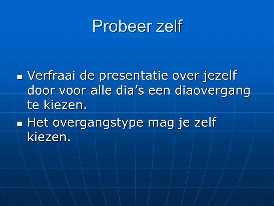 Probeer zelf Open de presentatie CPW4A\Powerpoint\Presentatie 2002.ppt Open de presentatie CPW4A\Powerpoint\Presentatie 2002.ppt Pas enkele ontwerpsjablonen toe op deze presentatie.