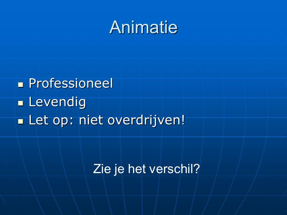 Animatie Professioneel Professioneel Levendig Levendig Let op: niet overdrijven! Let op: niet overdrijven! Zie je het verschil?