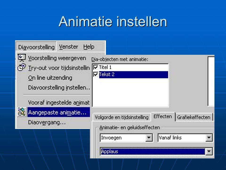 Probeer zelf Verfraai de presentatie over jezelf door animatie aan dia's toe te voegen.