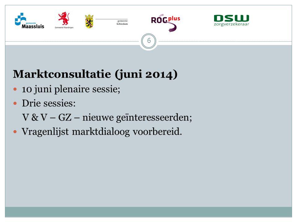 Marktconsultatie (juni 2014) 10 juni plenaire sessie; Drie sessies: V & V – GZ – nieuwe geïnteresseerden; Vragenlijst marktdialoog voorbereid. 6