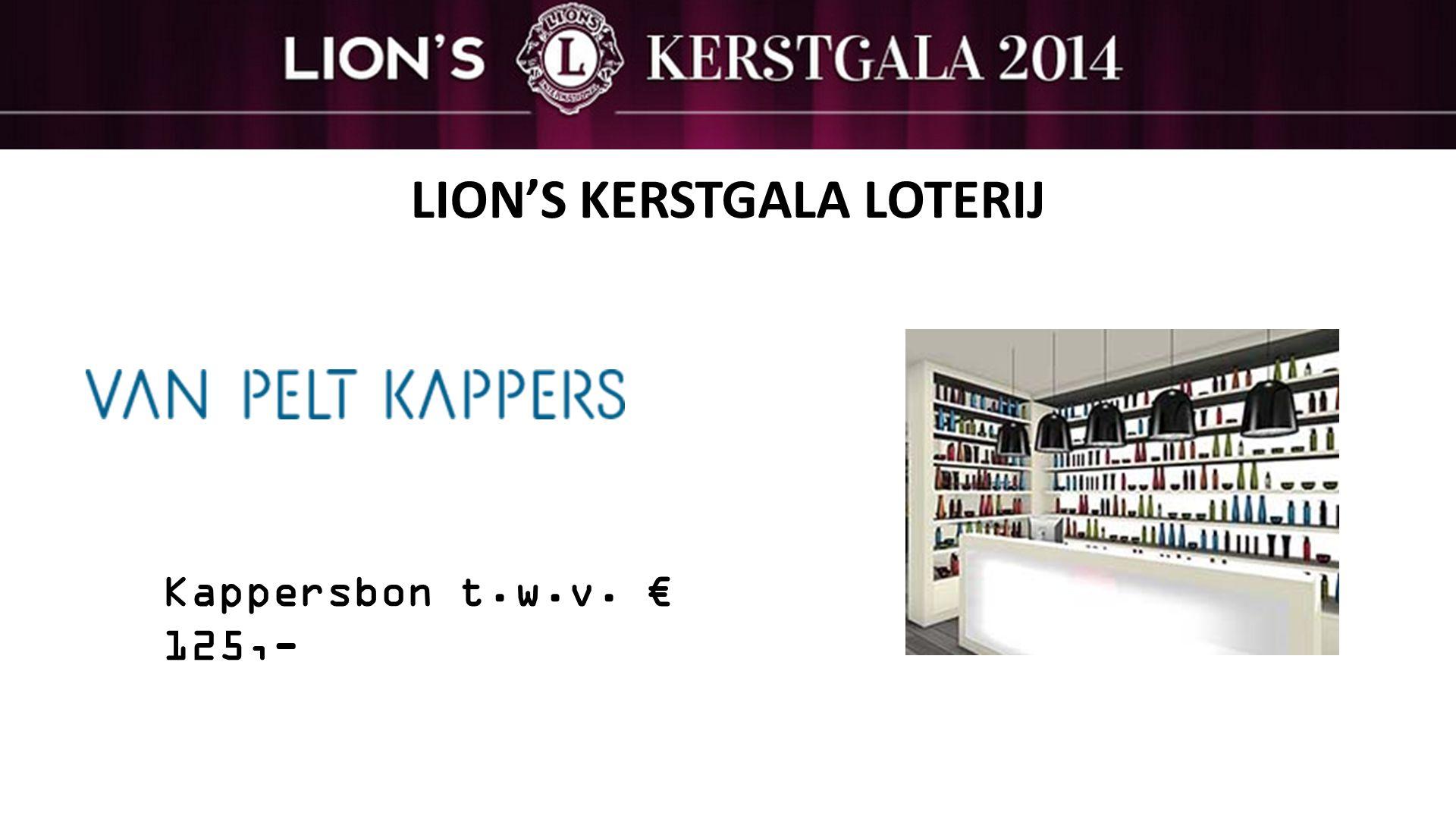 LION'S KERSTGALA LOTERIJ Kappersbon t.w.v. € 125,-