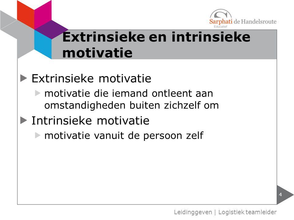Extrinsieke motivatie motivatie die iemand ontleent aan omstandigheden buiten zichzelf om Intrinsieke motivatie motivatie vanuit de persoon zelf 4 Lei