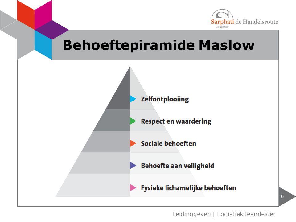 Behoeftepiramide Maslow 6 Leidinggeven | Logistiek teamleider