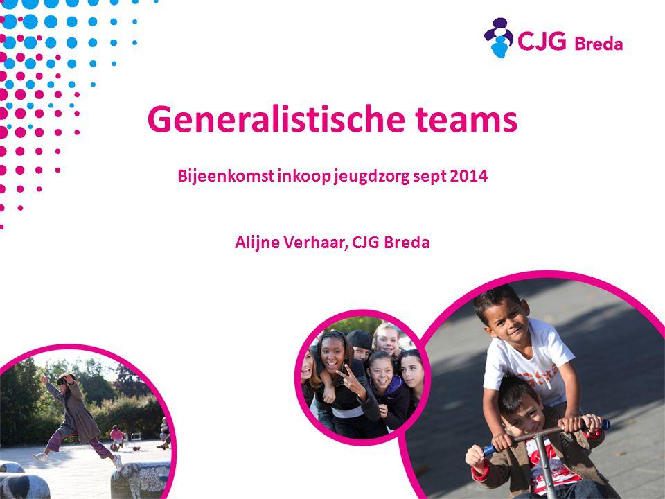 Generalistische teams Bijeenkomst inkoop jeugdzorg sept 2014 Alijne Verhaar, CJG Breda