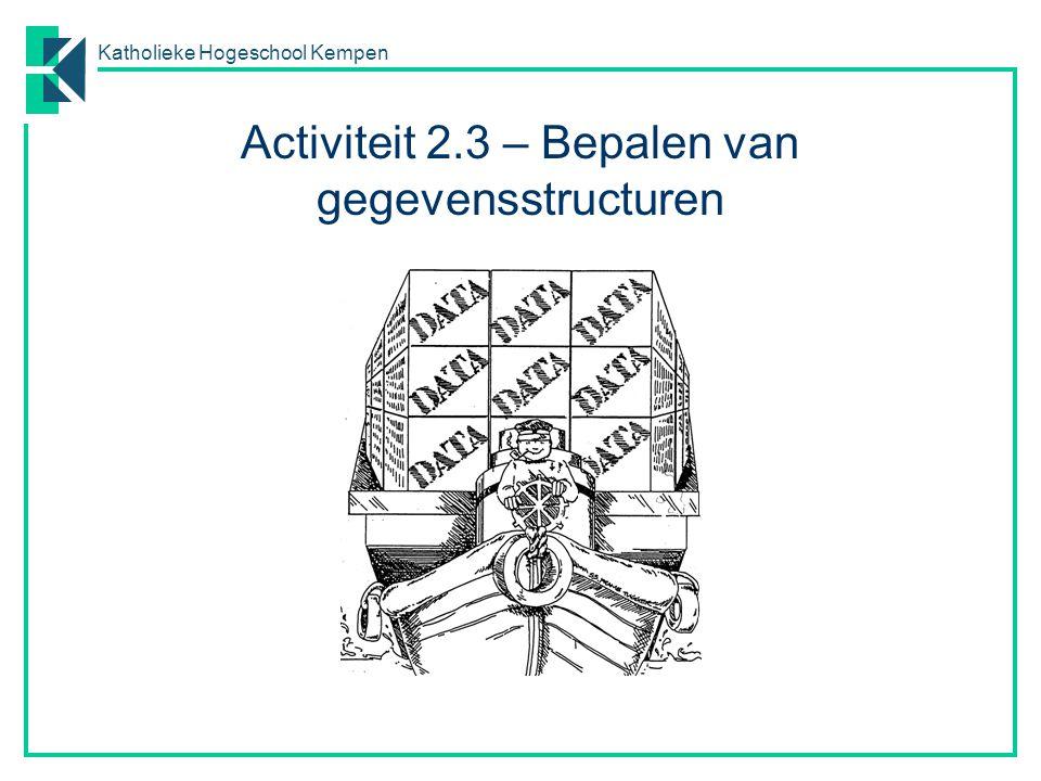 Katholieke Hogeschool Kempen Activiteit 2.3 – Bepalen van gegevensstructuren